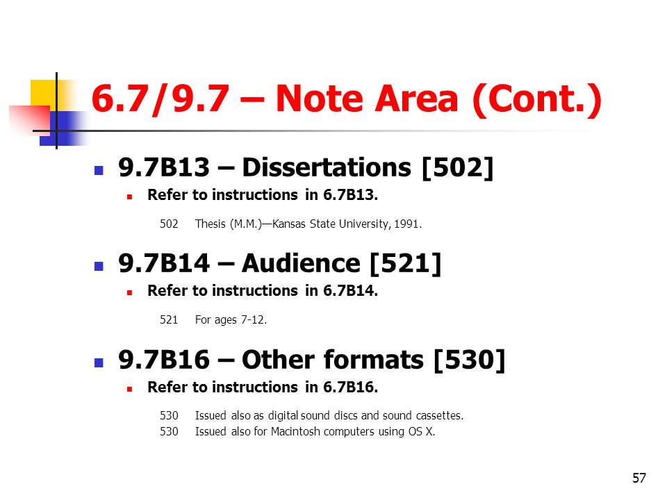 6.7/9.7 – Note Area (Cont.) 9.7B13 – Dissertations [502]